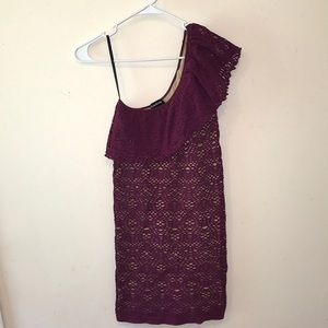 Bebe One Shoulder Lace Form Fitted Dress - Sz S